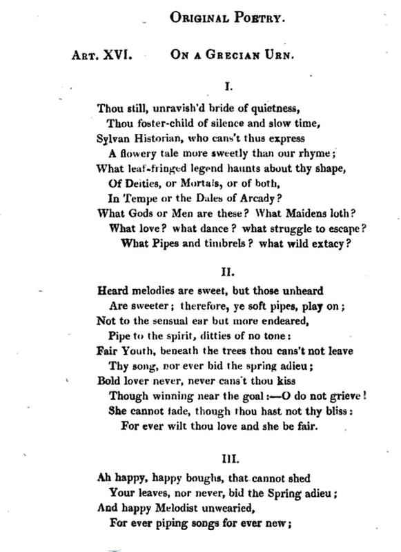 john keats ode on a grecian urn thesis